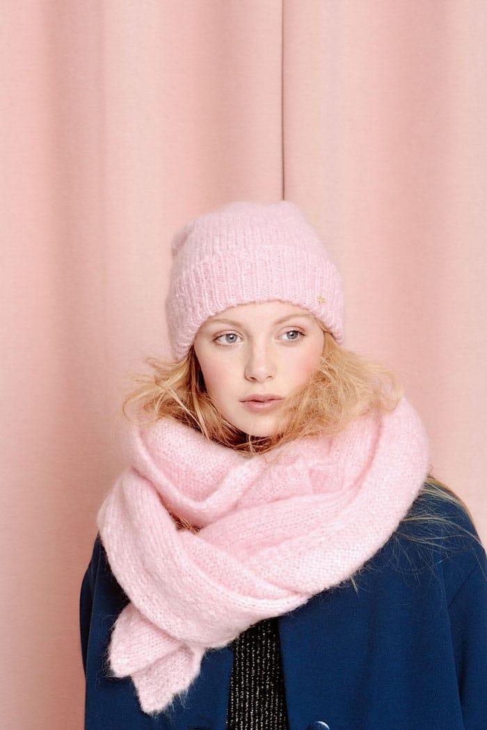 écharpe et bnnet aine rose pastel