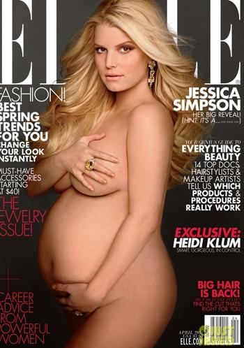 Jessica Simpson pose nue et enceinte pour le magazine Elle