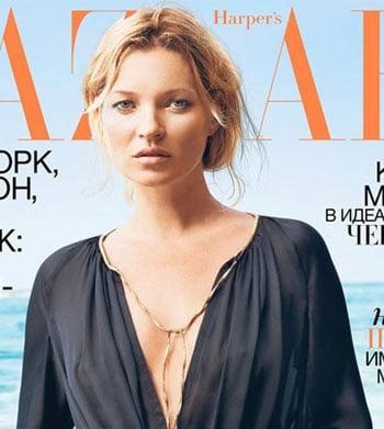 Kate Moss enlaidie en couverture de Harper's Bazaar