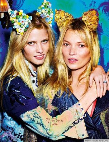 Lara Stone et Kate Moss meilleures amies pour le magazine LOVE