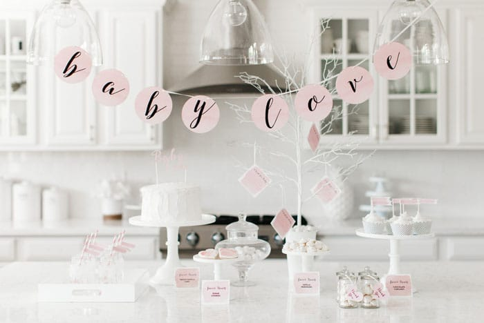 Baby shower rose et blanche