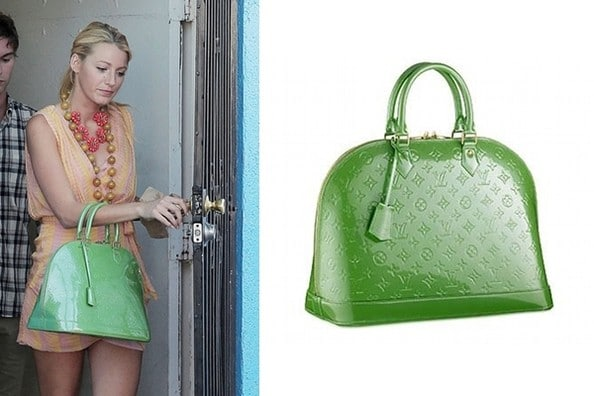 blake lively et son sac vert louis vuitton sur le tournage de gossip girl. Black Bedroom Furniture Sets. Home Design Ideas