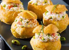 Choux au crabe citron et pistache