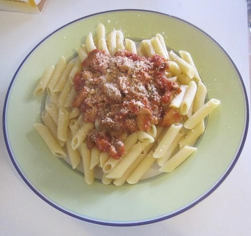 Pâtes aux champignons sauce tomate parmesan