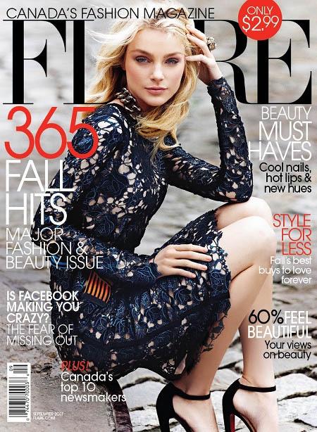 Jessica Stam en couverture du magazine Flare de septembre 2011