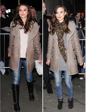 Keira Knightley craque pour un manteau Burberry à 4000$