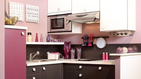 Quand la cuisine se pare de couleurs f minines - Cuisine grise et rose ...