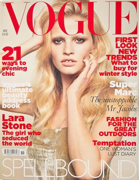 Lara Stone vogue uk novembre