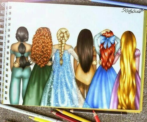 cheveux dessins princesses disney