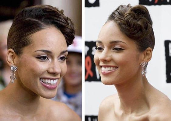 Le chignon torsadé d'Alicia Keys
