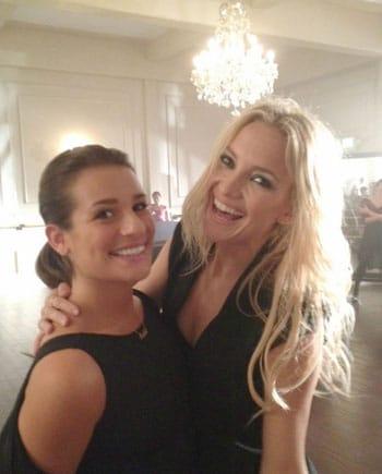 Kate Hudson sur le tournage de Glee avec Lea Michele