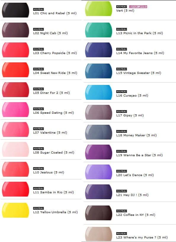 Nouvelles teintes pour les vernis laque chez Sephora