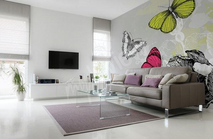 La mode des papiers peints photos, nouvelle tendance de décoration pour le salon*