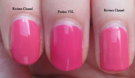 "Vernis ""Riviera"" Chanel Vs ""Fushia"" YSL"